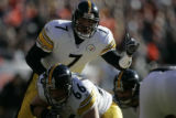 735 Pittsburgh Steelers QB Ben Roethlisberger calls a play during the first quarter at Invesco...