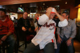 Customers at Elway's in Cherry Creek watch in disbelief as the Steelers score again during the 2nd...