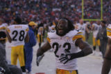 010 Pittsburgh Steelers safety #23 Tyrone Carter celebrates  Sunday's AFC Championship victory...