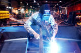 (CANYON CITY., Colo., Jan 26, 2006)  Bubba Anthony welds makes a weld at Portec Flomaster, which...