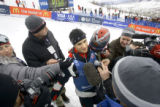 Jeremy Bloom (cq, center) talks while surrounded by reporters at the 2006 U.S. Olympic Team Trials...