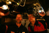20 year veteran United Airlines mechanic Mark Leber, cq, 45, left and second generation United...