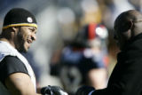 07910 Pre-game acticity.  Jerome Bettis and Terrell Davis.  Denver Broncos Pittsburgh Steelers at...