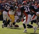 116 Steelers #39 Willie Parker goes down and fumbles the ball with a Denver Broncos recovery. The...