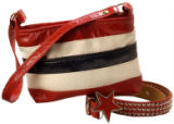 Red, white and blue striped bag ($22), belt ($26), buckle ($14). All at All American Vogue, 10 S....