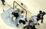 (DENVER, COLO.,  May 4, 2004)  The puck falls just past the goal line in front of San Jose Sharks'...