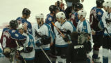 (DENVER, COLO.,  May 4, 2004)  Colorado Avalanche's #8, Teemu Selanne, left, gets a hug from...