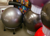 KAS016 FitBALLs sit on display at the Better Back Store in Boulder on Monday, July 3, 2006....