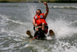 Jamie Hickerson water skis on Sloan's Lake Wednesday afternoon, July 19, 2006 in Denver. ...
