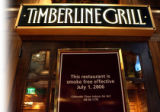 A sign at the door of an in-house restaurant at the Ameristar Casino reminds people that the...