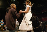 KAS349 Leonard Barrett takes Juliet Villa's hand during rehearsal of the Physically Handicapped...