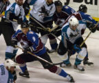 (DENVER, CO - 5/4/04) -- Colorado Avalanche Paul Kariya, #9, streaks through traffice at the point...