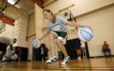 DLM608  Beth McCarthy, 12, of Colorado Springs, works on her dribbling skills during drills at...