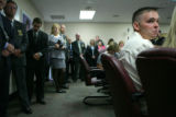 Joseph Sperry, cq, right, whose wife Rocio Sperry was murdered,  attends a press conference at the...