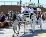 A horse & Buggy Driven By Bob Edmiston  is the first to cross the New 29 Rd. Bridge Crossing...