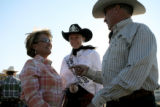 Diane Tammen(cq) (left), of Cheyenne, laughs with her husband Tom while talking with the Cheyenne...