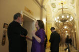 7/18/06 - Washington D.C. - Rep. DeGette (in purple dress) talks with John Sexton (left) in the...