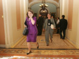 A busy Rep. Diana DeGette, D-Colo., is seen running from the Senate chamber over to the House side...