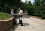 7th Congressional District Democratic candidate Herb Rubenstein (cq), right, shakes hands with...