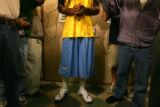 Wearing a Denver Nuggets jersey, new guard J.R. Smith speaks to the media at the Pepsi Center on...