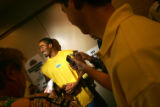 The Denver Nuggets new guard J.R. Smith speaks to the media at the Pepsi Center on Friday, July...