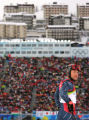 Bode Miller, of the USA, looks up the mountain after he did not finish the first run of the men's...