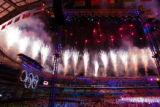 Fireworks explode in a ring around the roof of the Stadio Olimpico in Turin, Italy as the Closing...