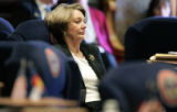 Deanna Hanna, D-Lakewood  sits in the Colorado State Senate Monday February 27, 2006. A short time...