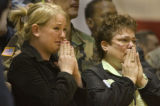 Wife of deceased Staff Sgt. Justin L. Vasquez, 26, Riley Vasquez, cq, 25, left and his mother...