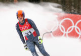 Lindsey Kildow comes to a stop at the finish of the women's downhill at San Sicario Fraiteve,...