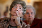 Betty Drucker (cq), in front, and Carol Macman (cq), listen to a nurse explain the new Medicare D...