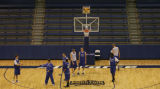 JPM0113 Air Force Academy men's basketball coach Jeff Bzdelik at practice in Clune Arena on the...
