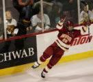 JPM141  Denver Pioneers center Paul Stastny, #26, celebrates his first period goal against...