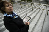 (DENVER, Colo., June 17, 2004)  Rose Thompson stands on the steps of the Colorado State Capitol...
