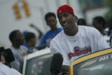 Detroit Pistons' guard and playoff MVP, Chauncey Billups, celebrates on Thursday, June 17, 2004 ...