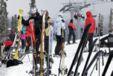Things got somewhat crowded on the top of the Montezuma Express Chair at Keystone Monday, February...