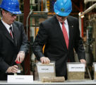 JPM635  Mike Pacheco, left, Director of the National Bioenergy Center watches as President Bush,...