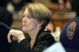Deanna Hanna, D-Lakewood  sits somewhat stunned and distant in the Colorado State Senate Monday...