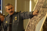 Police Chief Luis Velez, (cq) pointed out map details on an aerial perspective during a press...