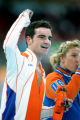 Bob de Jong of the Netherlands reacts to the cheers of the crowd after finishing in the lead of...
