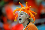 Cecile Lublink of Davos, Switzerland cheers for Bob de Jong of the the Netherlands during the...