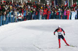 Kris Freeman, of the USA, skis towards the finish of the men's 50KM Cross Country Mass Start in...