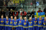 Sweden hockey team members including former Avalanche Peter Forsberg (third from right) join...