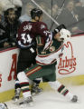 Avs #34 Kurt Sauer gives the worst to Alex Henry as Henry tries to check Sauer in the second...