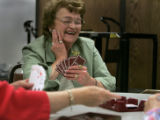 At Highland Senior Center, in Denver, Colo. Betty Bates (cq) 78, jokes with fellow seniors as they...