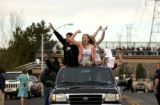 (AURORA, Colo., Feb. 2, 2006) Overland High School students protest from a passing truck as...