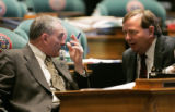 (L-R) Colorado State Representative, Joe Stengel (R) HD38, House Minority Leader, talks with Mike...