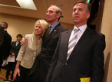 Republican gubernatorial candidate Congressman Bob Beauprez, second from right, with wife,...