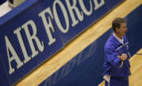 JPM0443 Air Force Academy men's basketball coach Jeff Bzdelik at practice in Clune Arena on the...