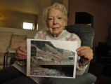 Pearl Yonkers, 84, holds a photo of her condemned land in Black Hawk Thursday afternoon February...